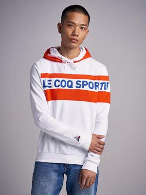 Street & luvtröjor - Le Coq Sportif Saison Hoodie 2 Optical White / Orange