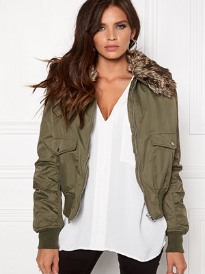 Rut & Circle omönstrad bomberjacka Kate Fur Collar Jacket