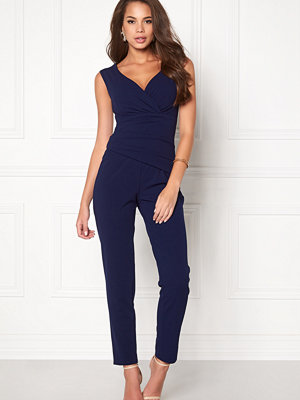 Goddiva Bardot Pleated Jumpsuit