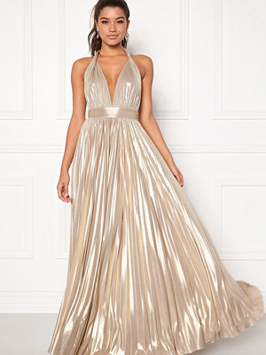 Goddiva Deep V Neck Metallic Dress