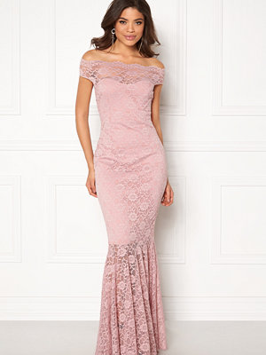 Goddiva Bardot Lace Maxi Dress