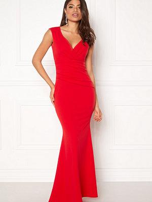 Goddiva Bardot Pleat Maxi Dress Red