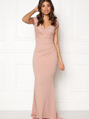 Goddiva Lace Pleated Maxi Dress