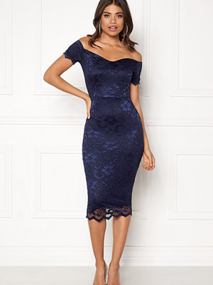 John Zack Bardot Lace Midi Dress