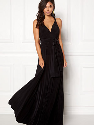 Goddiva Multi Tie Maxi Dress Black