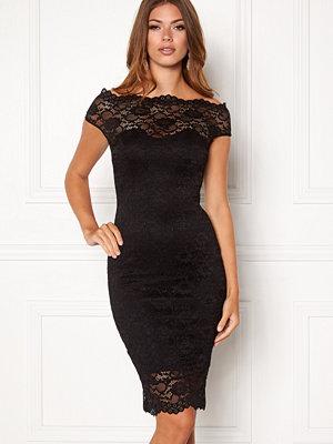 Goddiva Bardot Lace Midi Dress