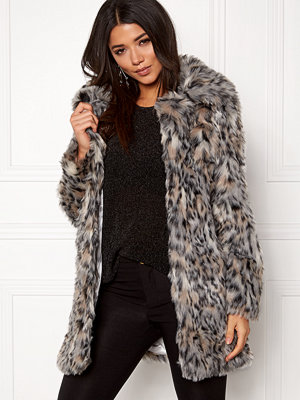 Qed London Wild Cat Faux Fur Coat