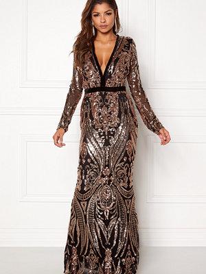 Goddiva V Neck Embroidered Dress