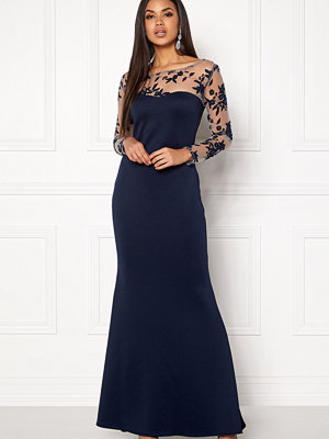 Goddiva Mesh Fishtail Maxi Dress