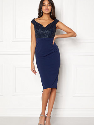 Goddiva Bardot Sequin Midi Dress