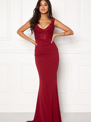 Goddiva Lace Pleated Maxi Dress