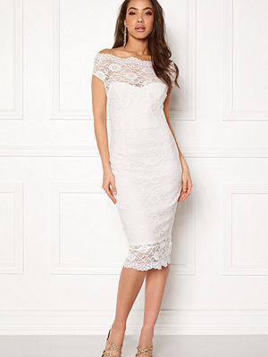 Goddiva Bardot Lace Midi Dress