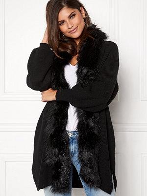 Qed London Faux Fur Long Cardigan