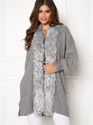 Qed London Faux Fur Long Cardigan