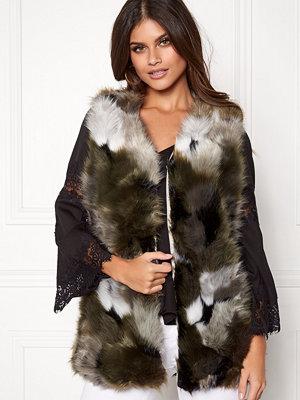Västar - Urban Mist Patchwork Faux Fur Gilet