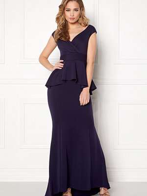 Goddiva Bardot Peplum Maxi Dress
