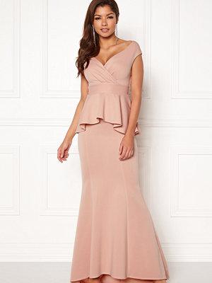 Goddiva Bardot Peplum Maxi Dress