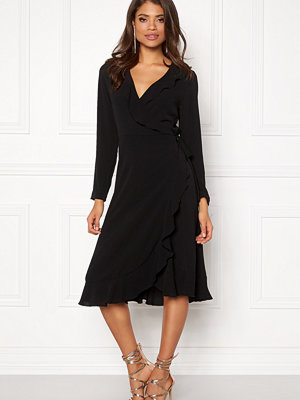 John Zack Wrap Frill Midi Dress