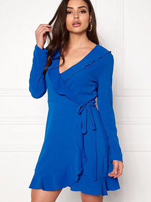 John Zack Wrap Frill Mini Dress