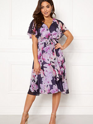 Goddiva Floral Flutter Midi Dress