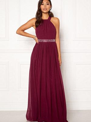 Goddiva Halterneck Chiffon Maxi Dress Berry