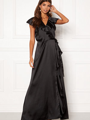 John Zack Ruffle Wrap Maxi Dress