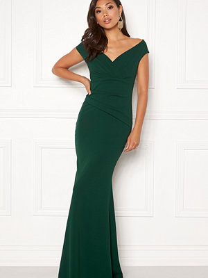 Goddiva Bardot Pleat Maxi Dress