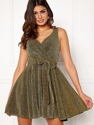Goddiva Lurex Skater Dress Gold