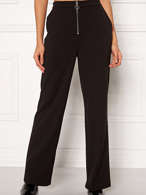 Pieces svarta byxor Vicca HW Zip Pants
