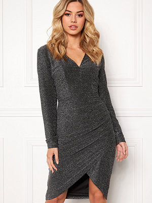 Girl In Mind Darcey Lurex V Neck Dress Silver