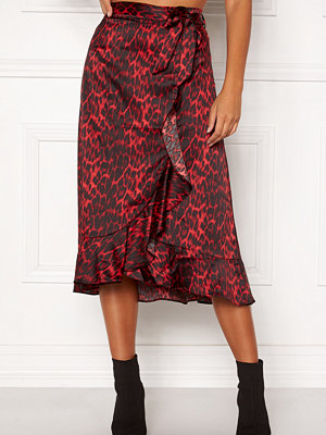 co'couture Red Animal Sateen Skirt