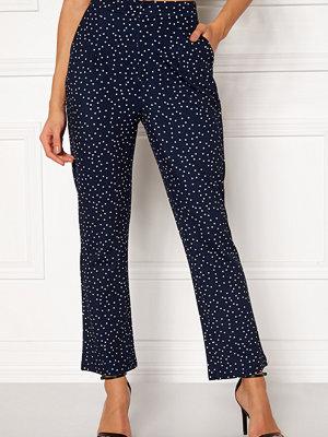 Make Way marinblå byxor med tryck Nadine trousers