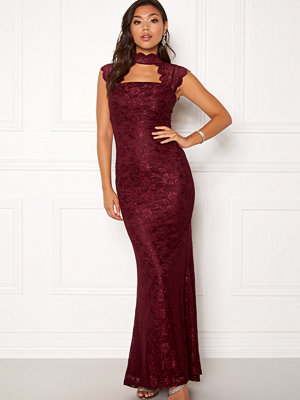 Goddiva High Neck Cut Out Lace Dress