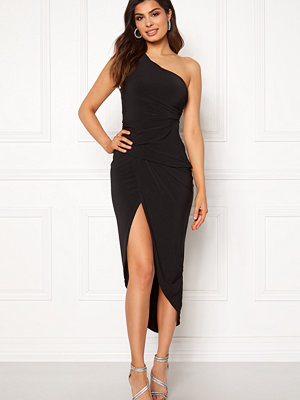 John Zack One Shoulder Rouch Dress