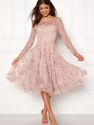 Goddiva Embroidered Midi Dress Misty Rose