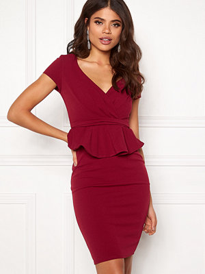 Goddiva Wrap Front Peplum Dress