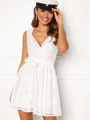 Goddiva Lace Skater Dress White