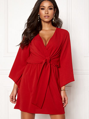 Ax Paris Tie Waist Deep V Dress