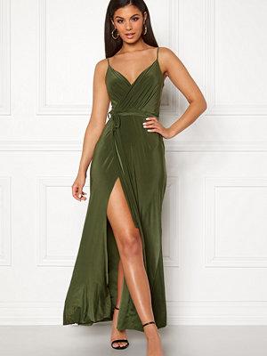 Goddiva Wrap Front Maxi Dress Olive