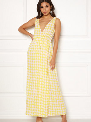 Ivyrevel Maxi Dress With Slit Yellow Pepita Print