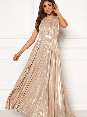 Goddiva Pleated Metallic Dress Gold