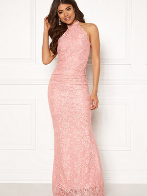Goddiva High Neck Lace Maxi Dress