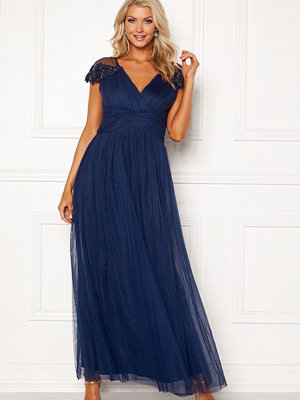 Little Mistress Mesh Trim Maxi Dress