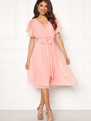 Goddiva Sleeve Chiffon Midi Dress