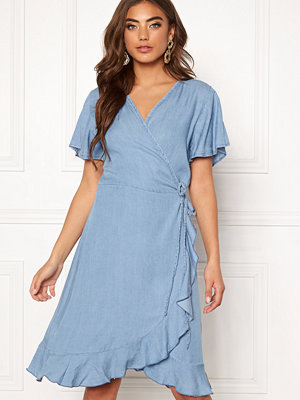 Blue Vanilla Wrap Frill Denim Dress
