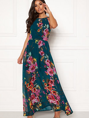 Blue Vanilla Floral Keyhole Maxi Dress