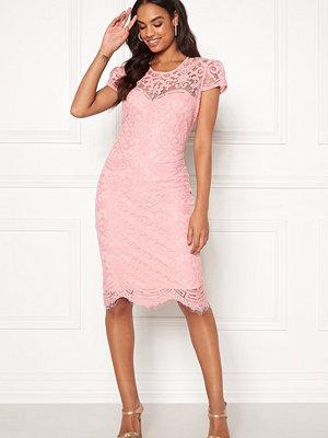 Goddiva Cap Sleeve Lace Dress Blush