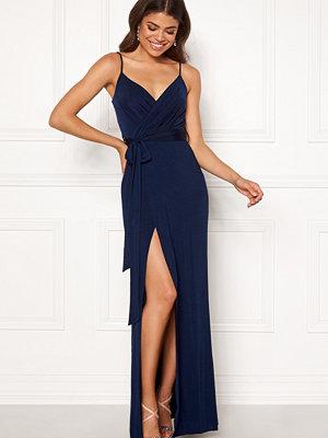 Goddiva Wrap Front Maxi Dress Navy