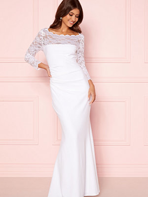 Goddiva 3/4 Lace Trim Maxi Dress