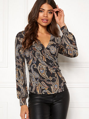 Happy Holly Simone wrap top Black / Paisley